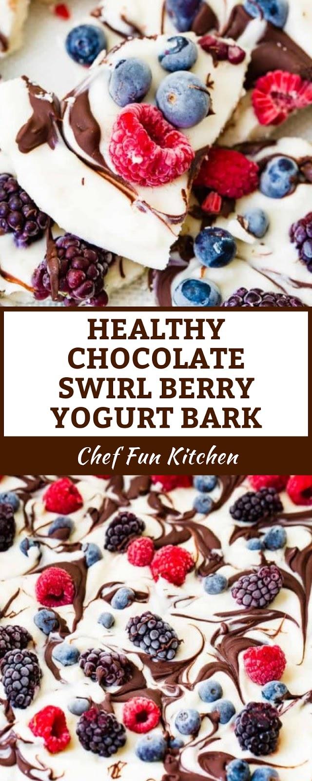 HEALTHY CHOCOLATE SWIRL BERRY YOGURT BARK