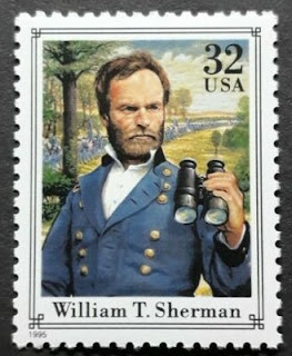 US William T. Sherman 32c single stamp from the Civil War pane