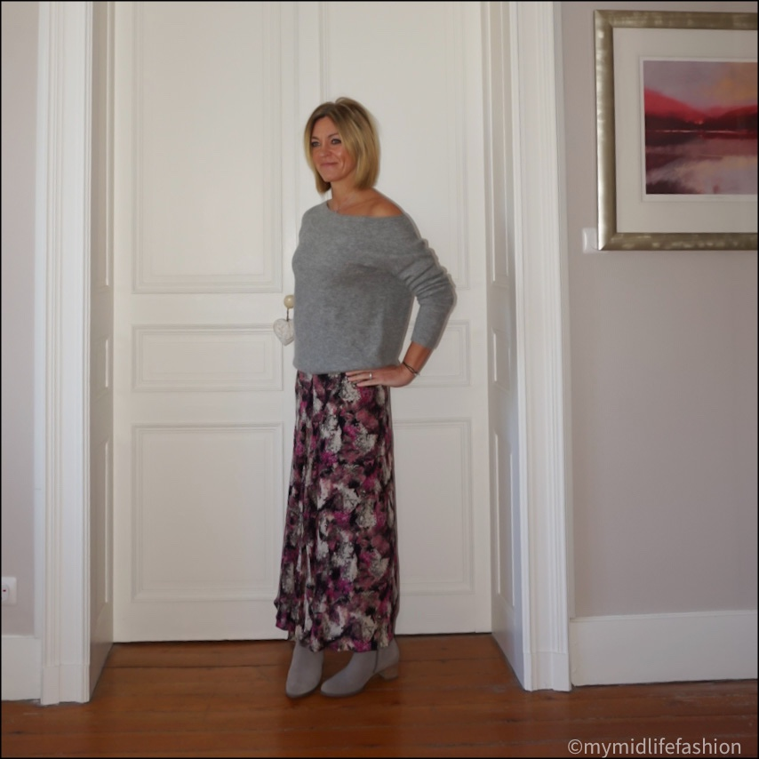 my  midlife fashion, hush off the shoulder jumper, raey patterned maxi skirt, Ecco block heel ankle boots