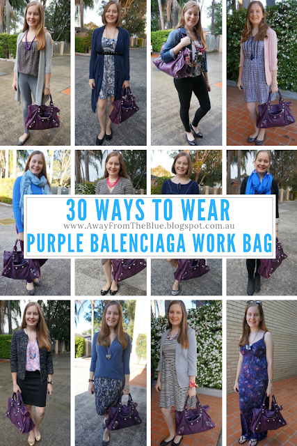 30 ways to wear purple Balenciaga Work Bag | away from the blue blog