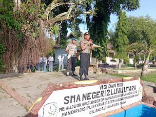 Kapolsek Sukamaju Jadi Inspektur Upacara Di SMA Negeri 2 Luwu, Ini yang Disampaikan