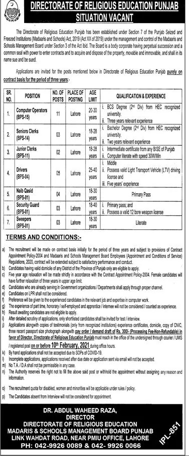 Directorate of Religious Education Punjab Jobs 2021 - Punjab Government Jobs 2021