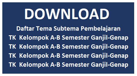 Daftar Tema Subtema Pembelajaran TK  Kelompok A-B Semester Ganjil-Genap