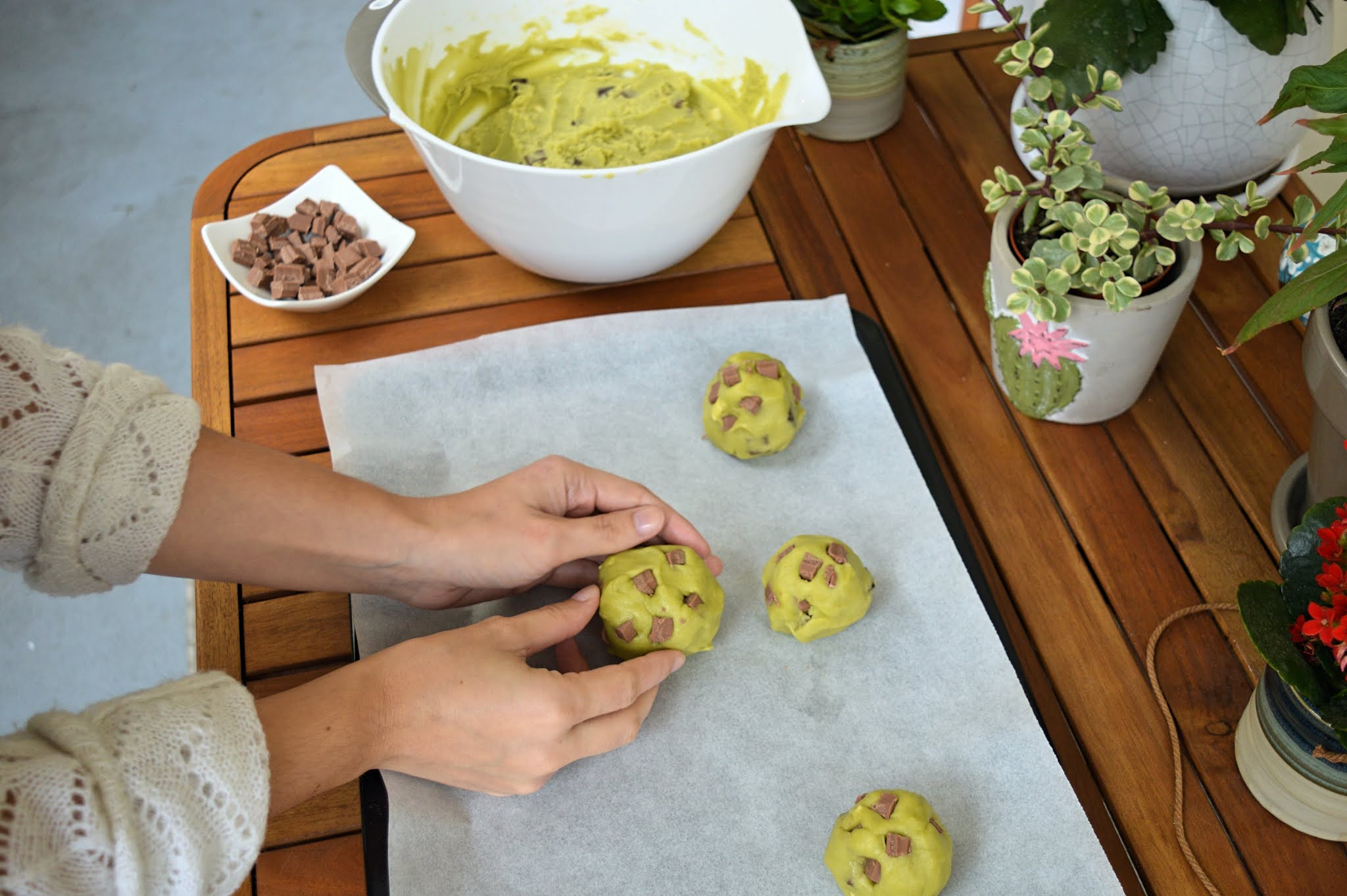 Boules de cookies thé matcha