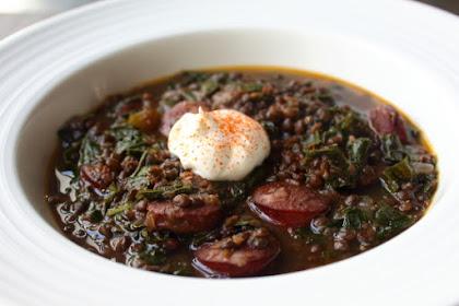 Black Lentil Stew with Sausage & Kale – Dark Food for Dark Days