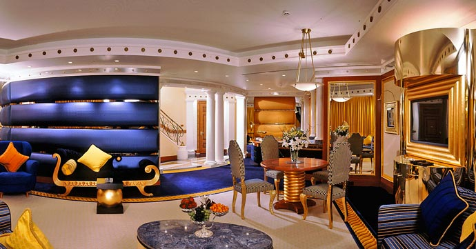 Interior design at Burj al Arab luxury Dubai hotel