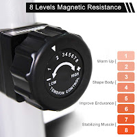 SNODE E20's resistance dial knob, image, with 8 levels of magnetic resistance