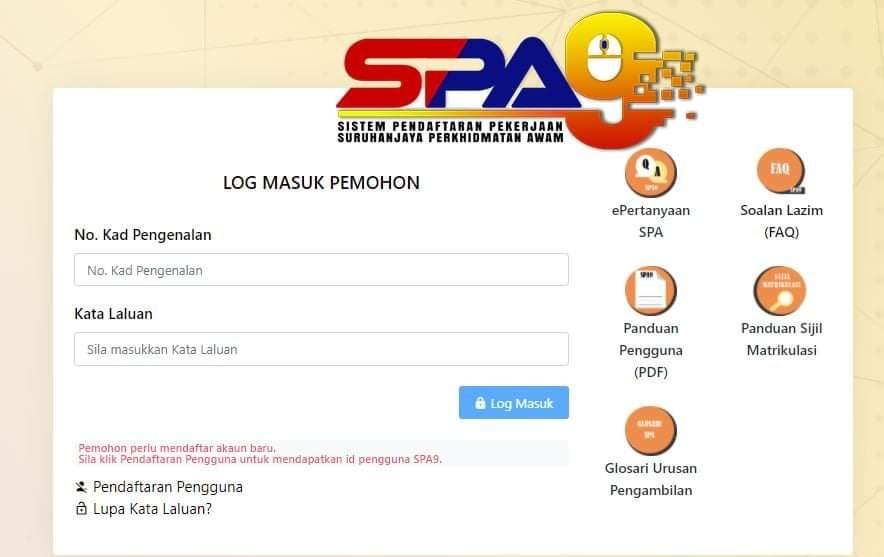 Permohonan SPA9 2020 Online Borang Kerja Kosong Kerajaan