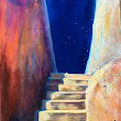 "Contemporary Architectural Painting, Stairway ""Stairway to the Stairs"" by California Artist Cecelia Catherine Rappaport"