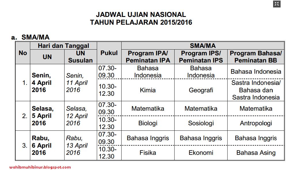 Jadwal UN SMA SMK SMP TA 2015/2016 ~ Wahib Muhibi Nur Blog
