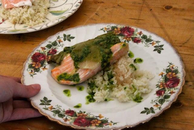 Salmon with vine leaves, jasmine rice, salsa verde