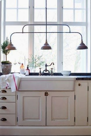 image result for Swedish Farmhouse Christmas Decorating Interior Design white kitchen