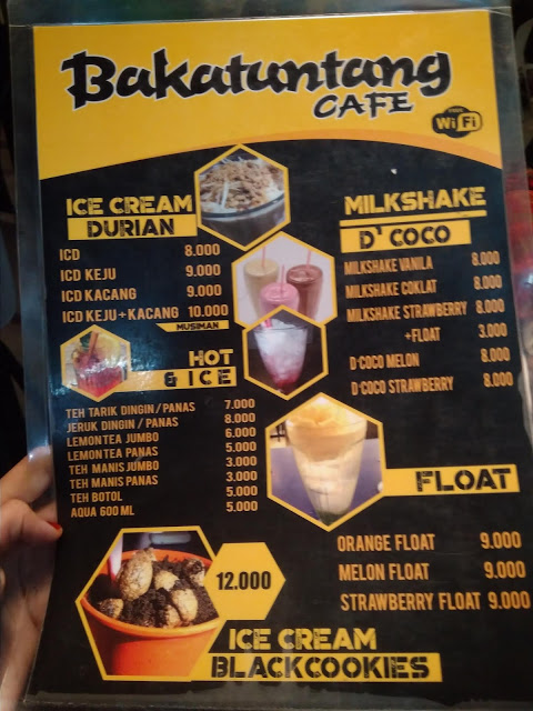 menu bakatuntuang cafe