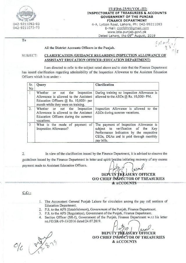CLARIFICATION REGARDING ADMISSIBILITY OF INSPECTION ALLOWANCE OF ASSISTANT EDUCATION OFFICER (AEO)