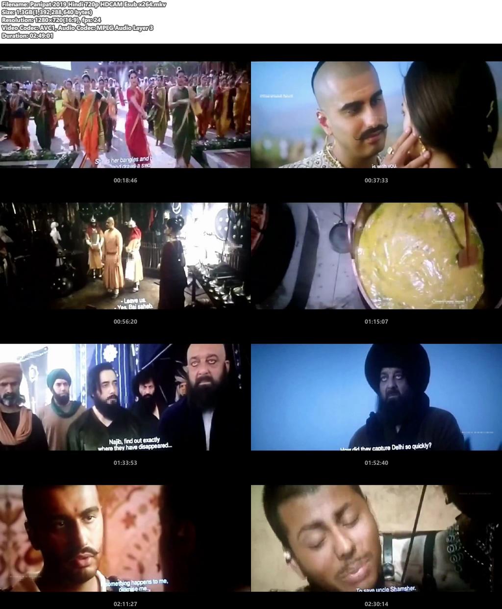 Panipat 2019 Hindi 720p HDCAM Esub x264 | 480p 300MB | 100MB HEVC Screenshot