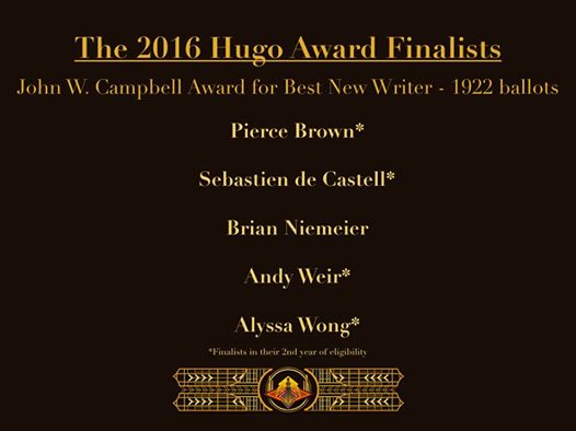 Image result for Best New Writer 2016 hugo
