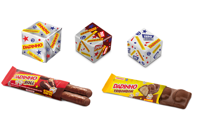 Four new products from the Dadinho brand will be launched at this fair. Inaugurating a new, healthier category, they innovate with the extension of the whole square through Dadinho ZERO addition of sugar, they also present another traditional version combined with chocolate. The other novelties are the Dadinho Roll pudding version and the Tribombom composed by the union of three rounded candies under a crunchy wafer base.