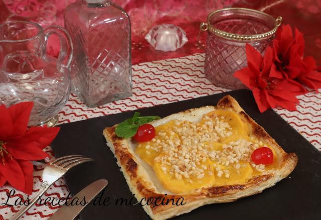Tartaletas de  hojaldre con caquis