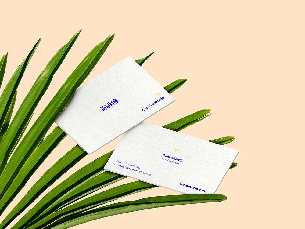Business Cards and Green Leaves Mockup