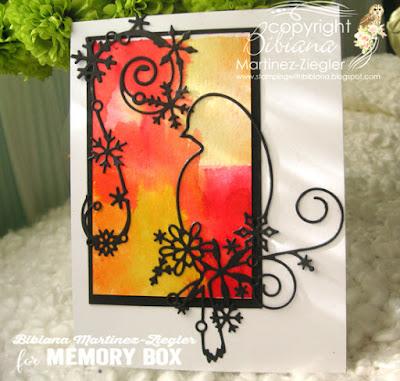 watercolor background bird card