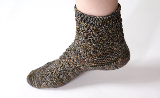Hand Knit Sock on Foot