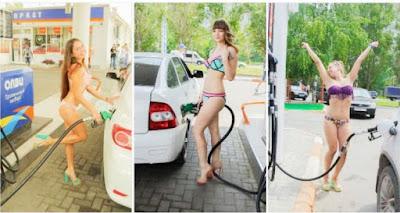 Berbikini Untuk Dapatkan Petrol Percuma