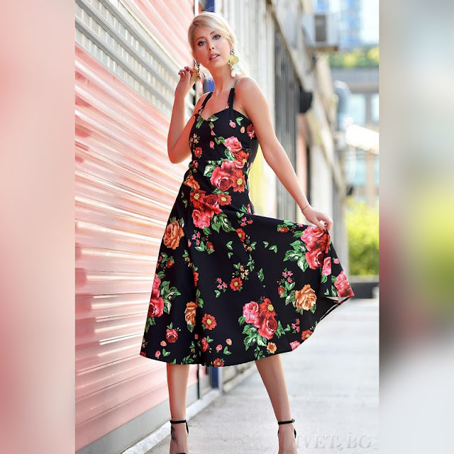 Μοντέρνο μίντι φλοράλ χρωματιστό φόρεμα LOSANA