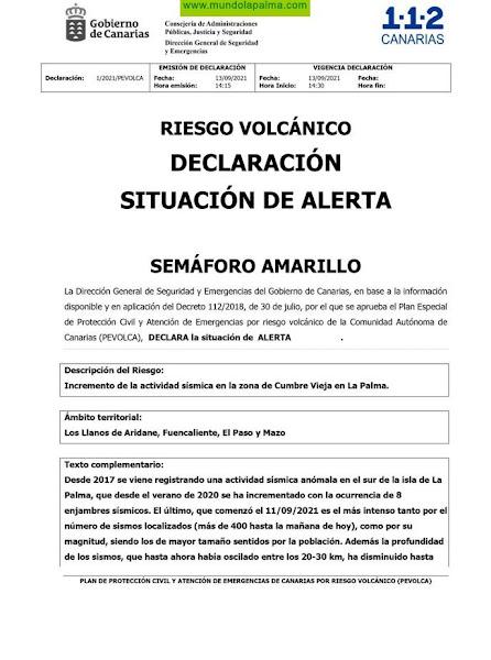 Alerta por Riesgo Volcánico en La Palma