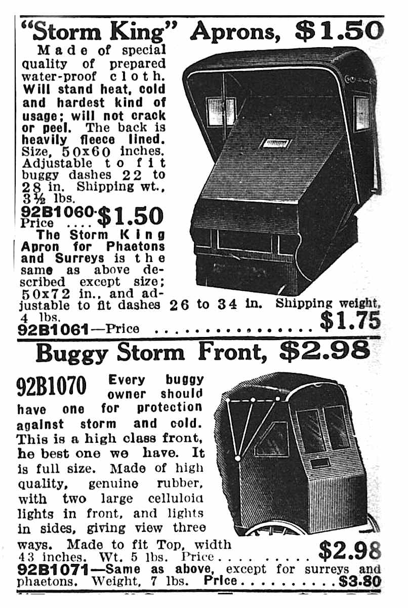 1916 buggy storm-aprons, catalog illustration