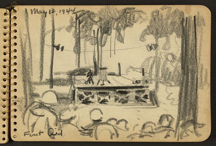 21-Year-Old WWII Soldier's Sketchbooks Show War Through The Eyes Of An Architect - Soldiers Watching A First Aid Demonstration While Stationed At Fort Jackson, South Carolina