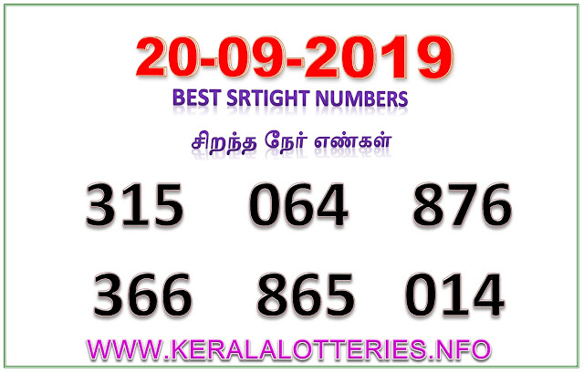 Kerala Lottery Guessing Best Straight Numbers 20.09.2019