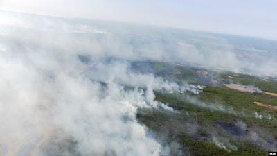 Красноярск заволокло дымом от пожаров