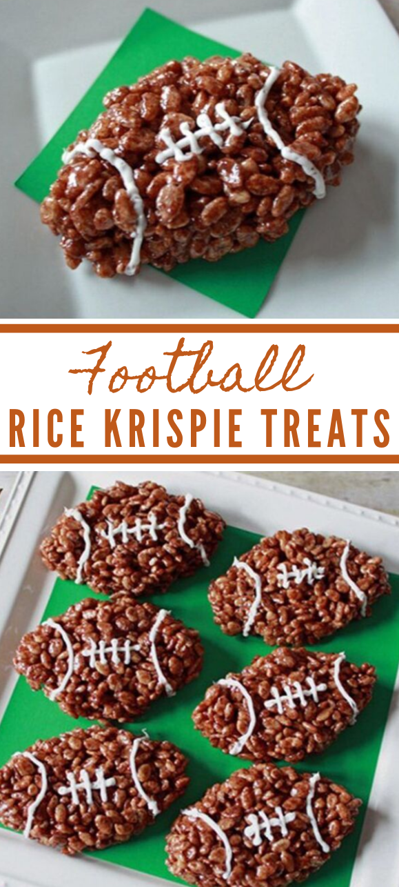 FOOTBALL RICE KRISPIE TREATS #rice #desserts #paleo #healthycakes #yummy