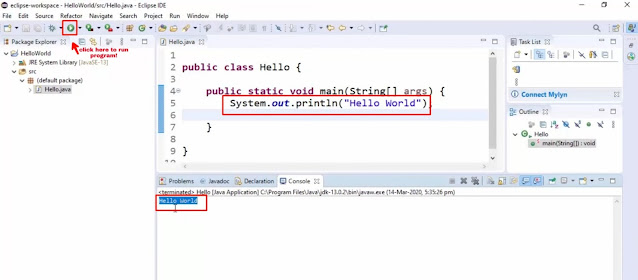 Print Hello world in java on Eclipse IDE; How to download eclipse IDE for java developers(Windows 10)