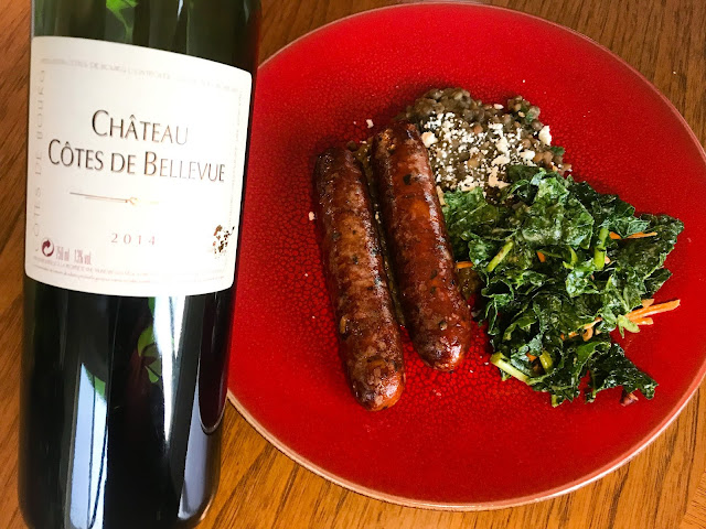 2014 Château Côte de Bellevue Côtes de Bourg with Sausages and Lentils. Photo by Nicole Ruiz Hudson