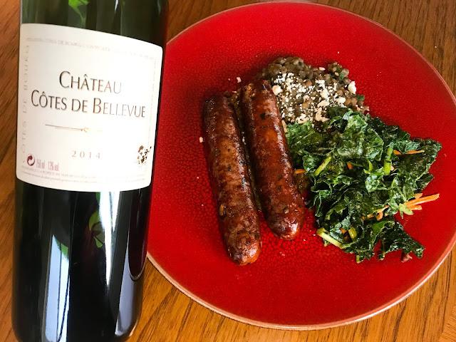 2014 Château Côte de Bellevue Côtes de Bourg with Sausages and Lentils. Photo by Nicole Ruiz Hudson