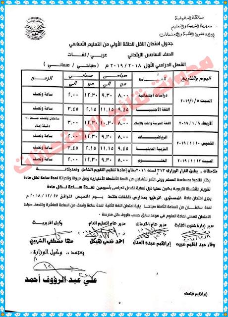 جدول إمتحانات محافظة الدقهلية الترم الاول 2019