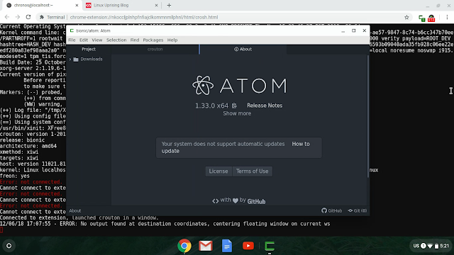 Atom editor running in a Chrome OS window via Crouton