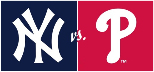 The New York Yankees' stylized NY icon next to the Phillies' stylized P icon, with 'vs.' in small letters between them
