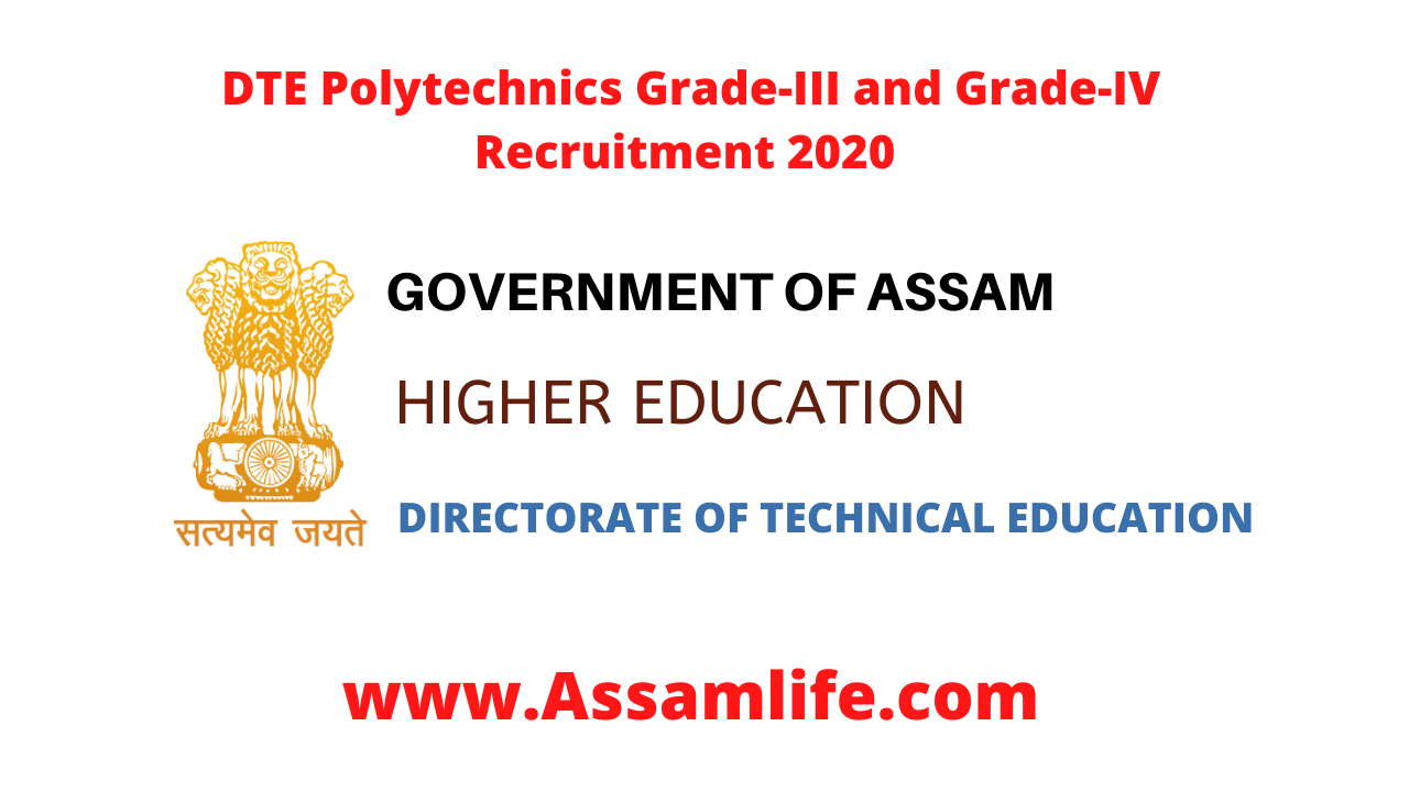 DTE Polytechnics Grade-III and Grade-IV Recruitment 2020 || Apply Online