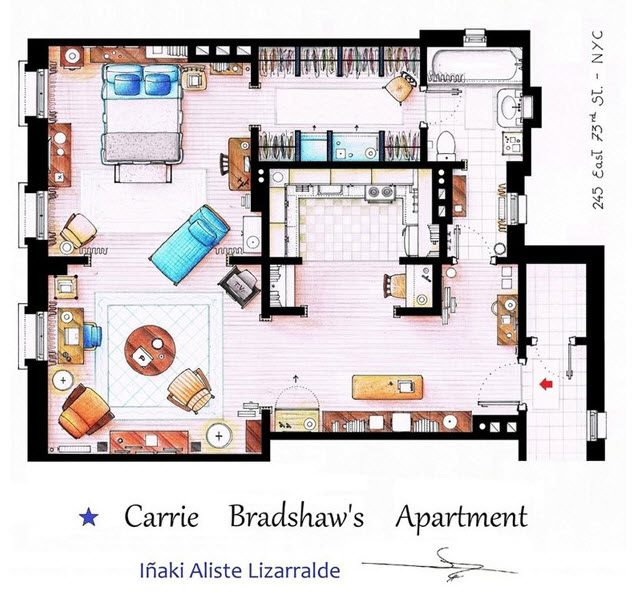 PLANO DE DEPARTAMENTO DE CARRIE BRADSHAW SEX ON THE CITY