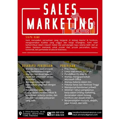 Contoh Iklan lowongan kerja marketing property