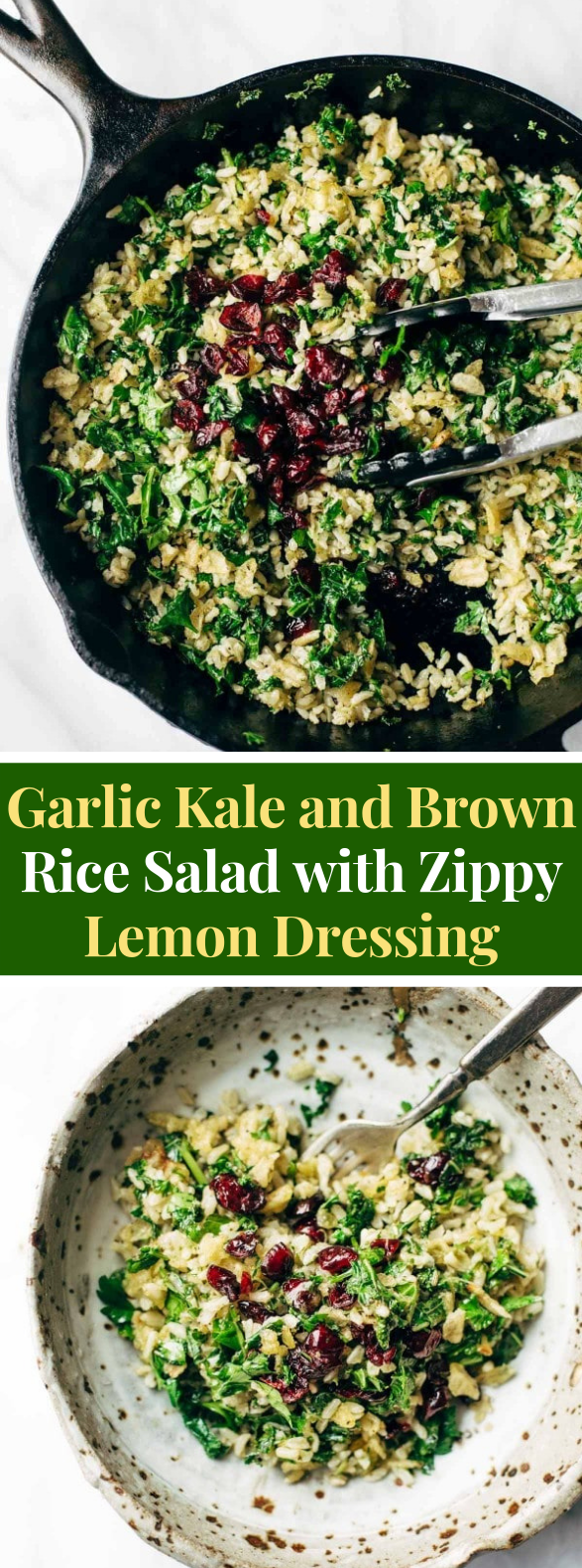 Garlic Kale and Brown Rice Salad with Zippy Lemon Dressing #vegetarian #healthysalads