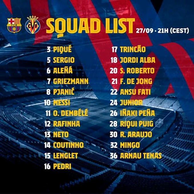 Barcelona officially release 23-man squad for Villarreal clash: Puig and Araujo IN make the list