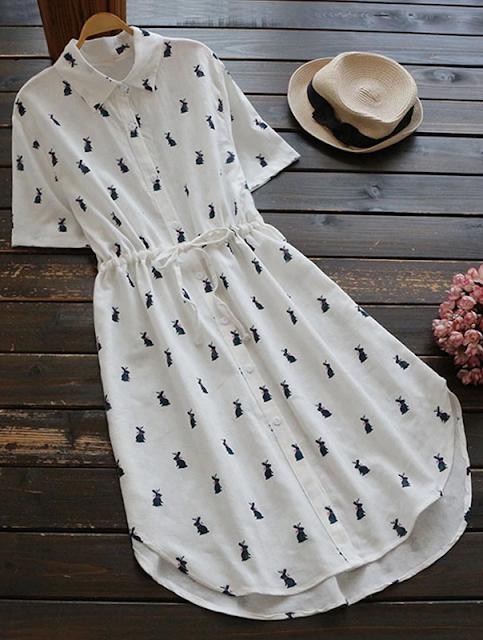Vestido chemise coelhos