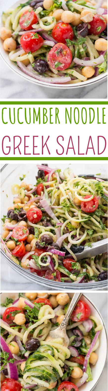 Vegan Cucumber Noodle Greek Salad #vegan #healthy #glutenfree #salad #plantbased