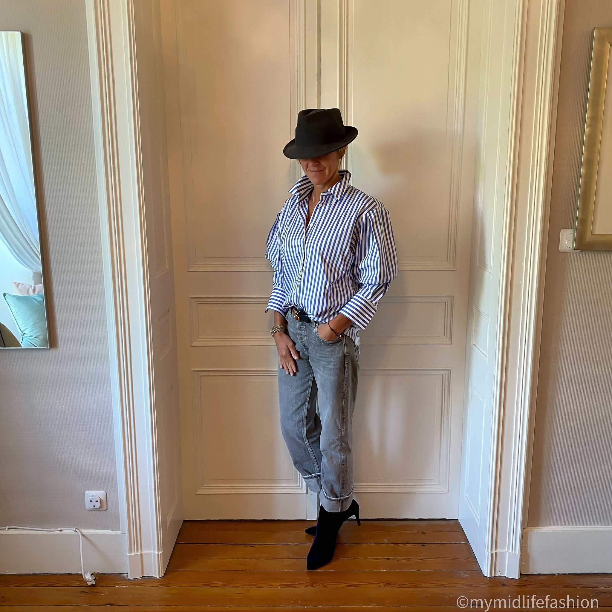 my midlife fashion, zara low rise straight leg jeans trf, marks and Spencer velvet stiletto heel ankle boots, felt fedora hat, and other stories oversized stripe shirt