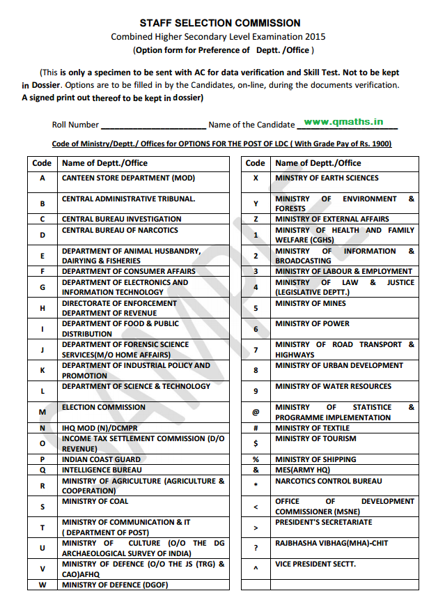 Ssc Application Form 2015 Pdf