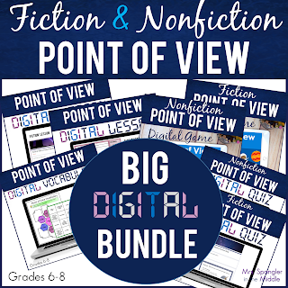 "Here's a complete DIGITAL unit for Middle School students on using point of view to analyze fiction AND nonfiction text based on CCRA.R.6: ""Assess how point of view or purpose shapes the content and style of a text.""  Middle School students will LEARN, PRACTICE and be ASSESSED for using point of view to analyze a fiction text AND a nonfiction text!"