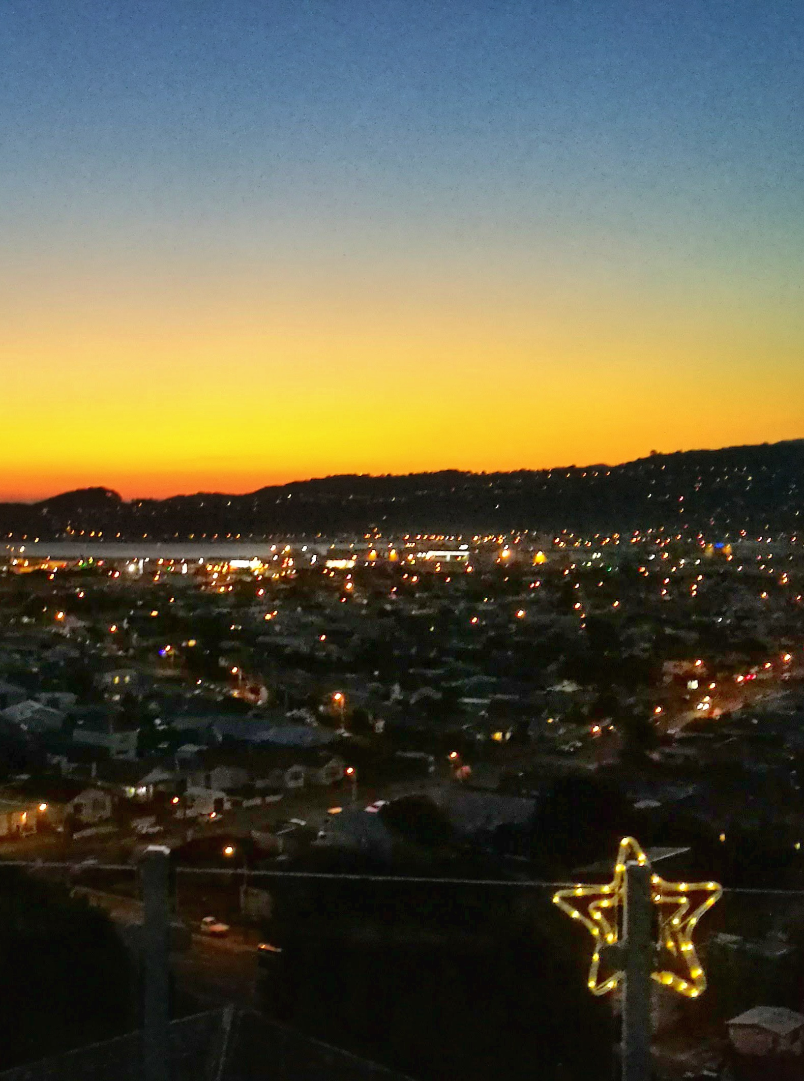 Sunset and Christmas star looking over Strathmore Park